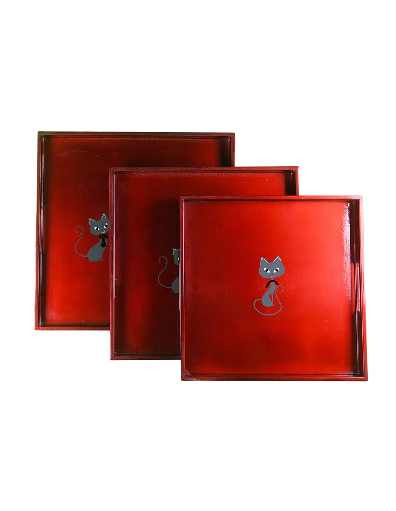 Square lacquer Tray Set of 3 CATS
